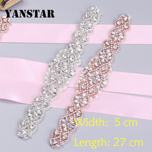 YANSTAR(1pcs) Bridal Handmade Rhinestones Appliques For Wedding Dress Sash Rose Gold Clear Crystal Rhinestones