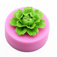 Middle Size 3D Peony shaped fondant cake decorating Silicone Mould flower handmade soap chocolate jelly candy mold