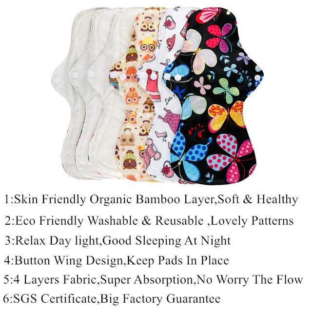 [simfamily] 5+1 Set Heavy Flow Pads Reusable Menstrual Cloth Sanitary Napkin Pads 100% Organic Bamboo Soft Healthy Mum Night Use
