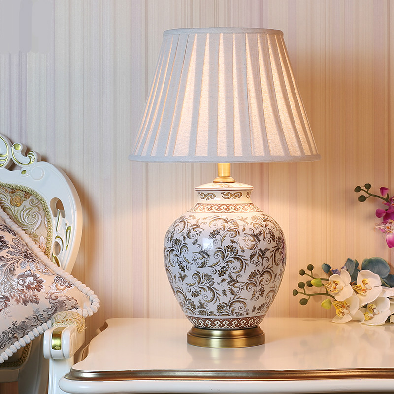 nightstand lamp with dimmer catellani and smith classical rural chinese ceramic fabric e27 table lamp dimmer for wedding deco living room bedroom bedside 58cm 1489in led lamps from lights