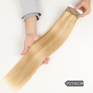 Image 3 - Sleek Double Drawn Straight Hair P6/613 Blonde P27/613 Brazilian Human Hair Bundles 1 Piece Only Remy Extensions Free Shipping