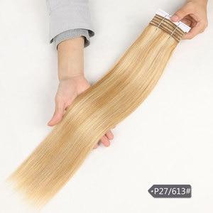 Image 3 - Şık çift çizilmiş düz saç P6/613 sarışın P27/613 brezilyalı İnsan saç demetleri 1 adet sadece Remy uzantıları ücretsiz kargo