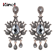 Kinel Luxury Festival Gift Ethnic Crystal Flower Earrings For Women Turkish Antique Gold Color Drop Bridal Jewelry