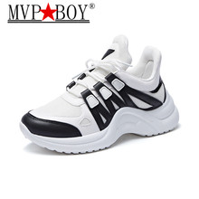 MVP BOY Women Sneakers 2018 New Fashion Casual Shoes Trends Ins Female White Flats platform Spring Summer Lace Up Size