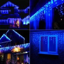 Romantic 224LED Home Chritmas Xmas Festival Wedding Blue Gorgeous Curtain String Light Decoration 5M