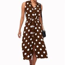 Office Ladies Plus Size Tank Maxi Dress Summer Women Empire Turn-down Collar Sashes Dresses A-line Polka Dots Vestidos Female цена и фото