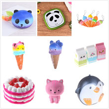 Face Panda Squishy Bread Anti Stress Slow Rising Fun Kid Toy Cartoon Cake Bun Wholesales cake milk box ice Cream cat penguin(China)