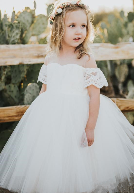 Sweet Ivory lace soft tulle off the shoulder short flower girl dress for beach wedding toddler kids birthday holiday party gown
