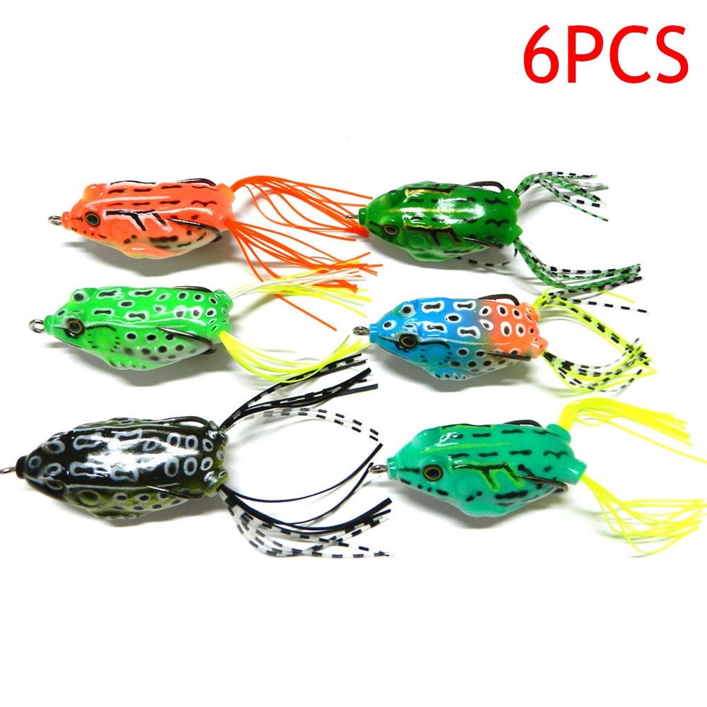6 Pcs 5.5cm/12g Fishing Lures Bass Soft Frog Crankbaits Top Water Fish Tackle Hook Artificial Baits 88 shop XR-Hot