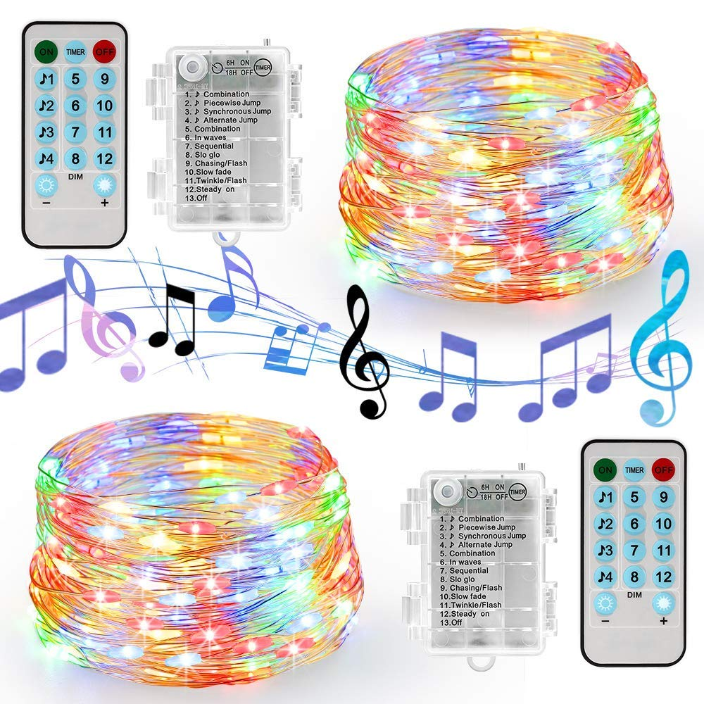 Battery/USB Operated Sound Activated LED Music String Lights 5M 10M Silver Wire Garland Home Christmas Wedding Party Decoration