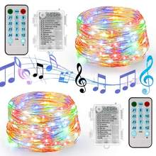 Battery/USB Operated Sound Activated LED Music String Lights 5M 10M Silver Wire Garland Home Christmas Wedding Party Decoration(China)