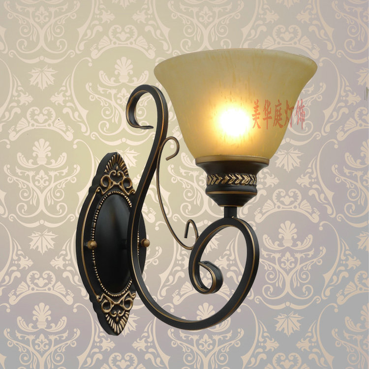 European style wall lamp black and white blue optional lens headlight bedlamp Mediterranean iron lamp special offer FG326