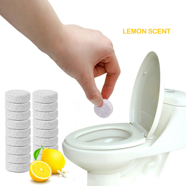 10pcs Multifunctional Concentrate Lemon Effervescent Spray Cleaner Home Toilet Cleaner Chlorine Tablets vClean Spot 1PC=4L Water