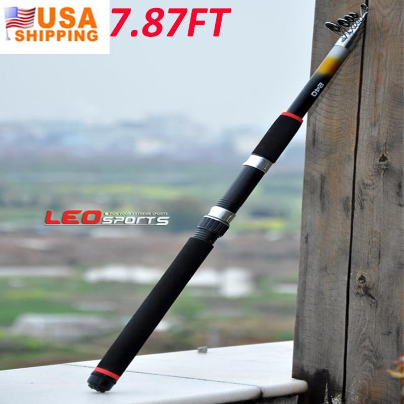 US Stock to USA 2.4M Portable Telescopic Fishing Rod Glass ...