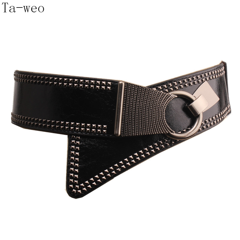 Ta-weo Fashion Women Dress Elastic Wide Belts, Rivet Punk PU Girdle, Elegant Cummerbunds, Generous Belts For Women