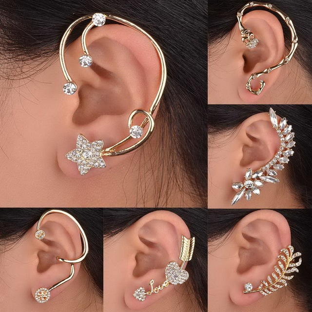 New Statement Elegant Vintage Punk Gothic Stud Earrings Crystal One Ear Cuff Wrap For