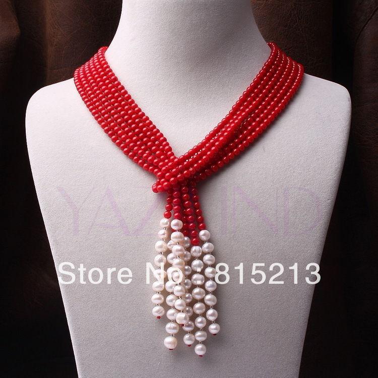 Ddh0060 3 brins main rouge corail ballon rond perle écharpe style fine chaîne collier N Remise