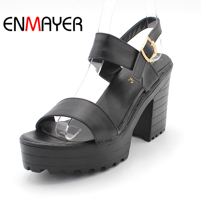 ENMAYER Shallow White Black New Women Summer Sweet Platform Block Heel Peep-toe Sandals Soft Girl Shoes Block Heels Women Pumps enmayer new women high heels summer buckle strap sandals shoes woman 4 colors white shoes platform peep toe sandals pumps shoes