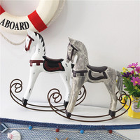Nordic Wooden Rocking Horse Christmas Decoration Ornaments Retro Home Decoration Accessories Photography Props