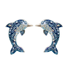 S925 sterling silver inlaid crystal dolphin earrings Fashion temperament ladies animal earrings Jewelry gift 6-ES3064 silver jewelry inlaid natural blue earrings shine all match earrings fashion temperament section mixed batch
