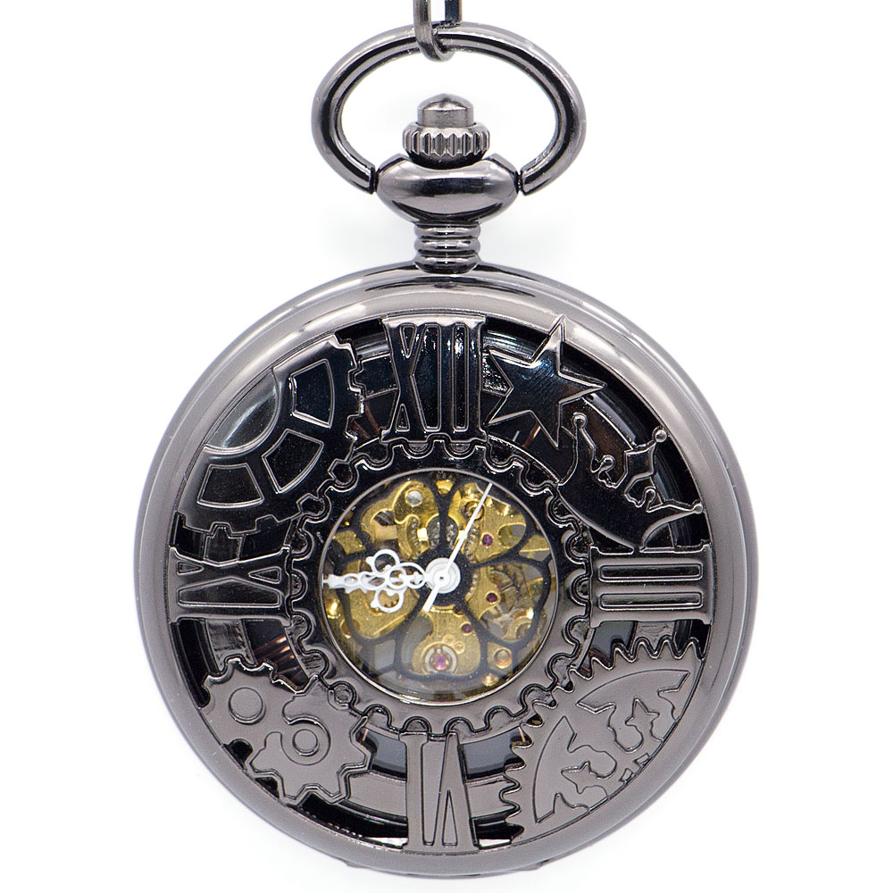 Fashion Machine Wheel Gear Mechanical Pocket Watch Skeleton Black Dial Pocket&Fob Watches With Fob Chain for Men Women PJX1342