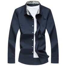 Large size men s business shirt high quality brand pure color men s shirt spring and