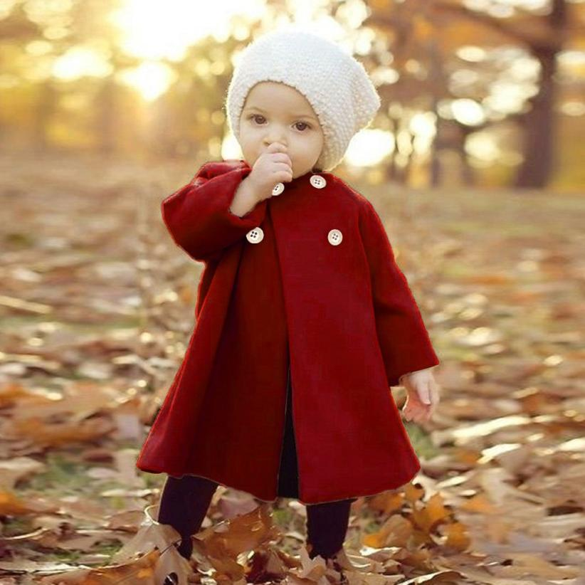 CHAMSGEND Fashion Baby Toddler Girls Kids Button Coat Outwear Jacket Clothes Long Sleeve Girls Wool Winter Coats Wide-waisted