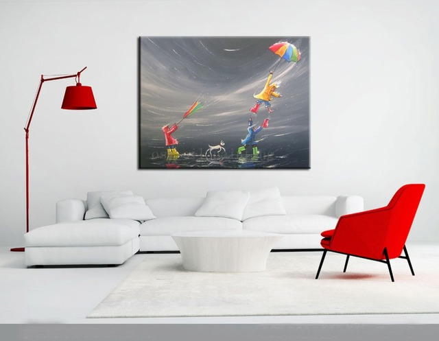 edb3fab8357 Handmade Modern Abstract Fine Art Acrylic Oil Painting Colours Umbrella Fun  Large Canvas Craft Picture Kids Dog Canvas Paintings