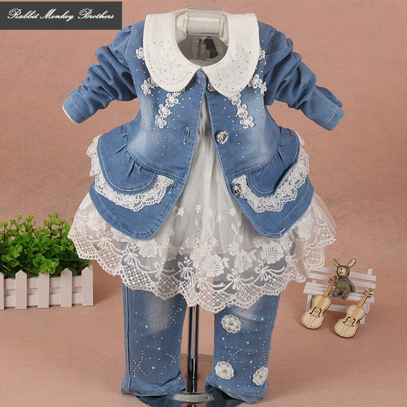 RMBkids baby girl clothes spring autumn baby suits newborn girls denim lace three piece set suit for infant baby girl outfit