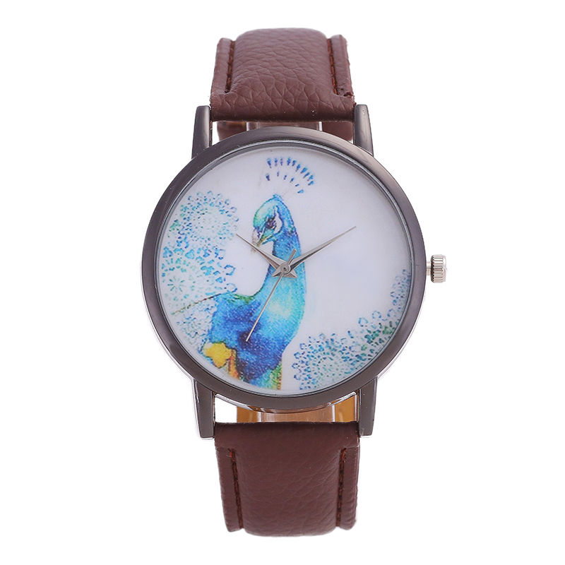 Fashion Brand Women's Watches Quartz Watch Simple Style Dial Blue Peacock Icon Digital Pointer Mirror Fashion Leather Watch
