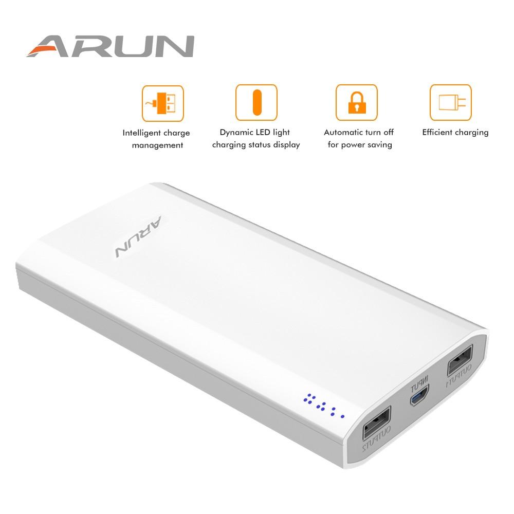ARUN Original Power Bank 20000 mah Dual USB LCD Power Externe Batterie Ladegerät Für Handys Tabletten Poverbank langlebig