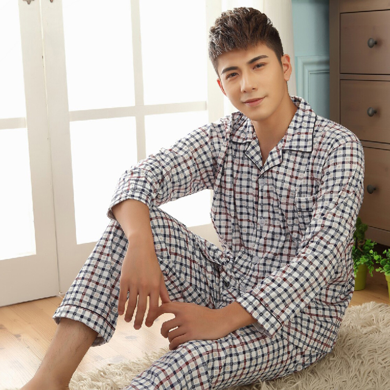 Thoshine Brand Spring Autumn Winter Men 100% Cotton Pajamas Sets Of Sleep Top & Pants Male Pijama Casual Home Clothing Sleepwear