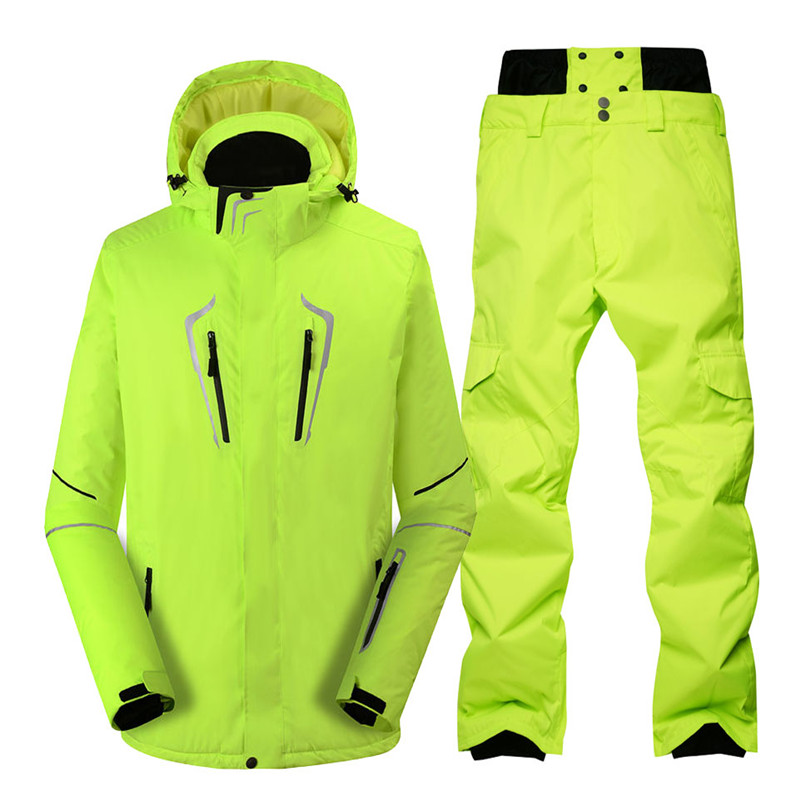 Pure Color Men Snow Suit Winter Outdoor Sports Wear Snowboarding Clothes Waterproof Windproof Costume Ski Jackets And Snow Pants