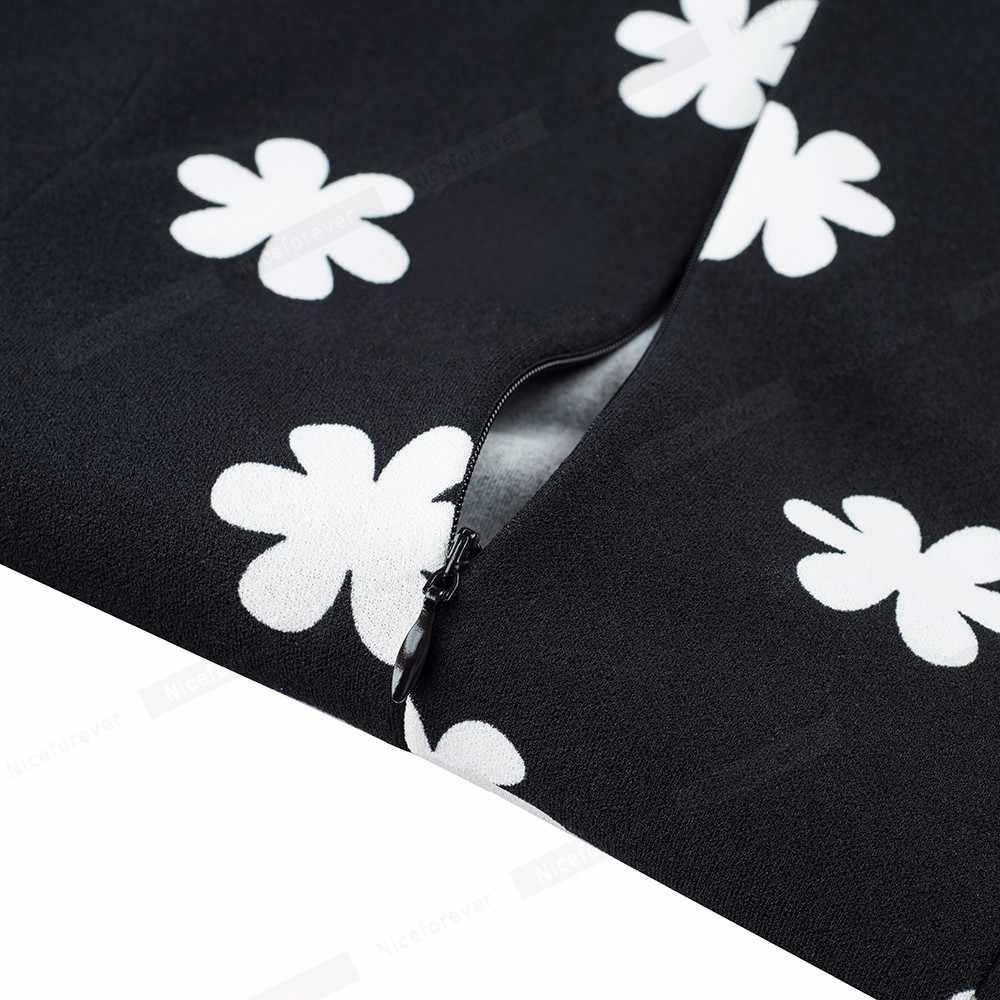 Nice-forever Винтаж элегантные Цветочный принт кинозвезды Повседневное vestidos Бизнес работы вечерние расклешенное ТРАПЕЦИЕВИДНОЕ Для женщин свободное платье A153