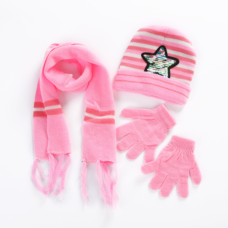[Lakysilk] Children Warm Girls Boys Pink Knitted Beanies Winter Soft Gloves Stripe Sequins Scarf & Hats Baby Hat Christmas Gift