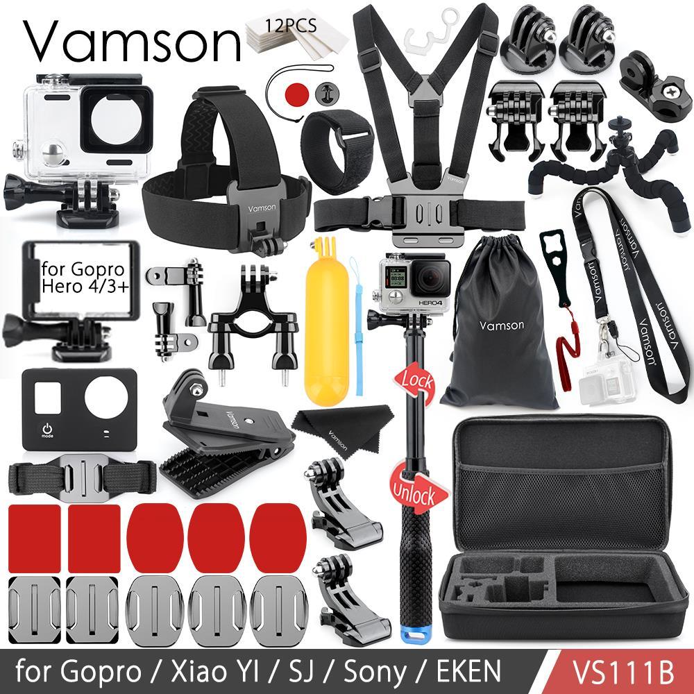 Vamson pour Gopro accessoires Kit pour Gopro Hero 4/3 + boîtier étanche/cadre Standard coque en silicone sangle de cou VS111B