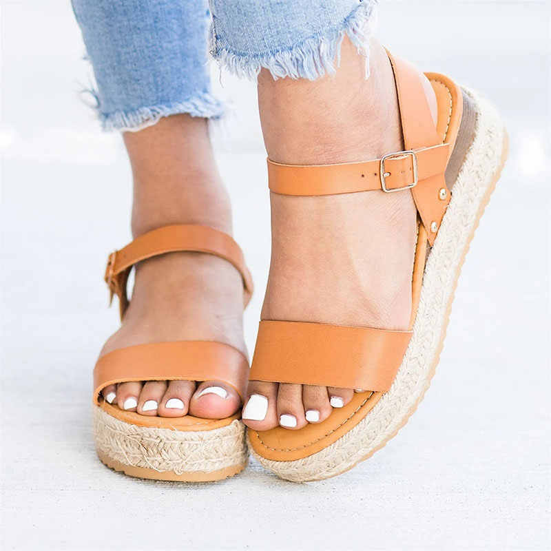 נשים סנדלי טריזים מזדמנים נעלי פלטפורמת נשים סנדלי נעלי בד קיץ נעלי אישה בוהן ציוץ עקבים סנדלי Zapatos Mujer