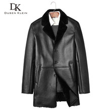 New wool leather Jacket Dusen Klein 2017 Brand Genuine sheepskin Shearling wool liner and collar leather clothing Luxury Z17026