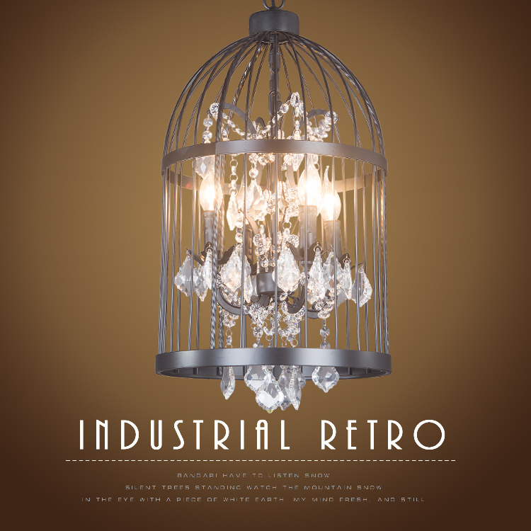 Sotão americano Luz Pingente de gaiola de pássaro de ferro retro de cristal hotel lobby escadas Pingente de luz restaurante lâmpada villa Luzes