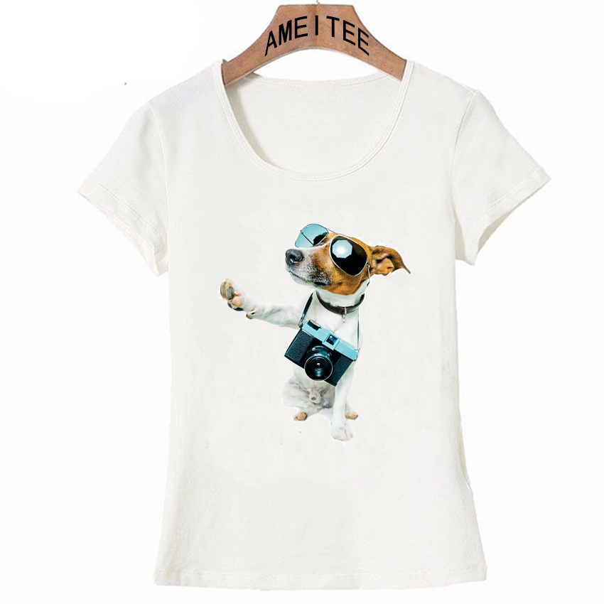 US $7.97 43% OFF|Hipster cool Jack Russells dog photographer design t shirt  fashion women T Shirt cute dog casual Tops Summer Tee Ladies T Shirt-in ...
