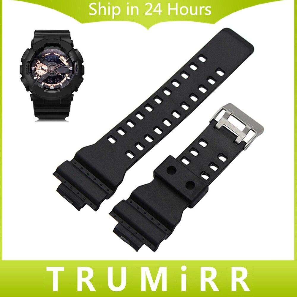 Prix pour Caoutchouc bracelet en silicone 16mm x 29mm convexe sangle pour casio G-choc Hommes Femmes Bande de Montre-Bracelet Bracelet Noir Blanc + Outil + Pins