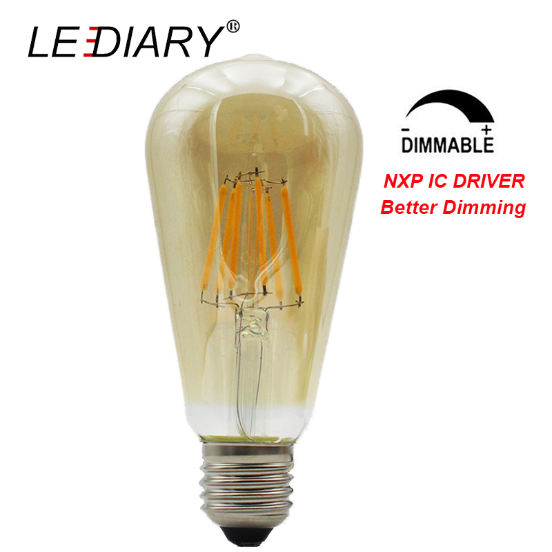 LEDIARY Dimmable ST64 Vintage LED Filament Bulb ST 64 E27 LED Amber/Gold Edison Lamp 220V NXP IC Driver Better Dimming Real 7.7W free shipping globle g125 amber glass led 4w spiral filament lamp for vintage edison fixture e27 220v lighting bulb