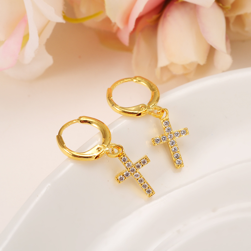 Bangrui Luxury Christmas Gifts Gold Color Women/Grils Crystal Stone Jewelry Wholesale Cross Earring