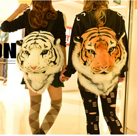SUPER COOL! tiger lion head emulation backpack,fashion bag pack for girls boys,100% head turning party focus queen king looking