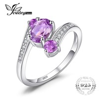 Feelcolor 2 48ct Genuine Natural Purple Amethyst Ring Solid 925 Sterling Silver Oval Cut Fashion Hot