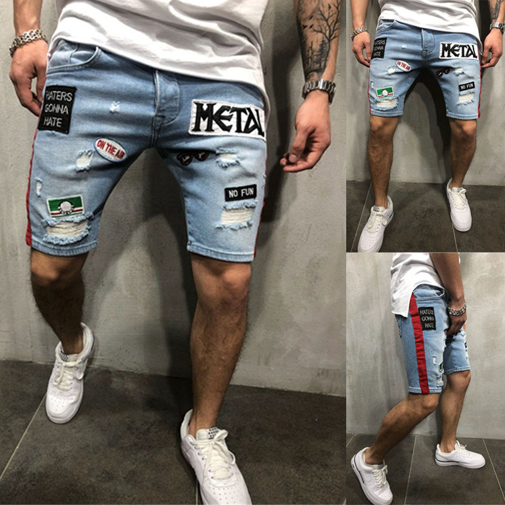 Drop Shipping 2019  Men Summer Short Jeans Hommes Jean Shorts  Skate Board Harem Fashion Jean Men Shorts Cargo Shorts Men