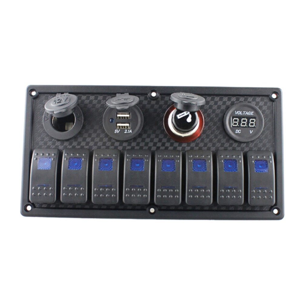 8 Gang LED Car Boat Rocker Switch Panel Dual USB Cigarette Lighter Socket Voltmeter Auto Car Switch Panel LED Boat Switch Panel g126y 2pcs red led light 25 31mm spst 4pin on off boat rocker switch 16a 250v 20a 125v car dashboard home high quality cheaper