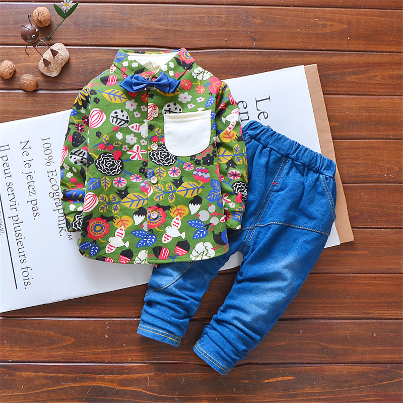 2 piece Boys Outfits Sets 2018 Spring Kids Clothing Set gentleman Clothes Children's Fashion Plaid Suit Baby tie tshirt + jeans new 2018 spring fashion baby boy clothes gentleman suit short sleeve stitching plaid vest and tie t shirt pants clothing set
