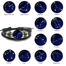 New Fashion 12 Constellation Bracelet Men Women Zodiac Sign Black Leather Wrap Nebula Star Astrology Jewelry
