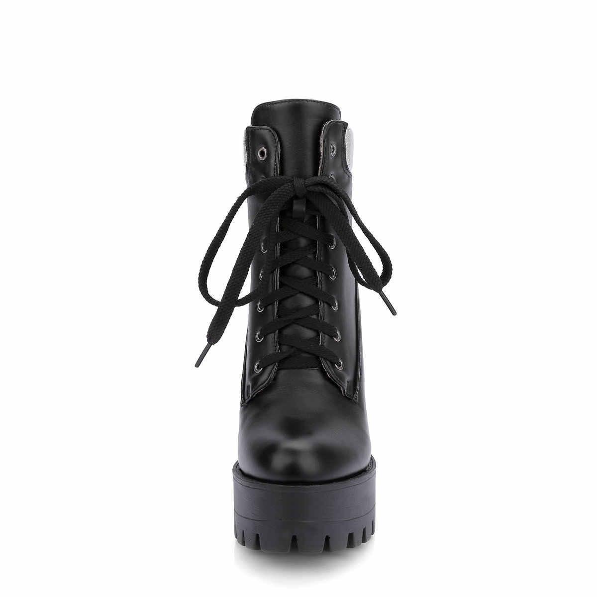 Kadın Botları Kare Yüksek Topuk yarım çizmeler Moda Platformu Çizmeler Lace Up Sonbahar Kış Kadın Ayakkabı Siyah Beyaz Turuncu 2018